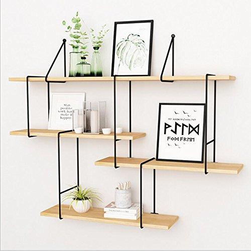 Shelves DUO Bücherregal 4 Tier Soid Holz Regale Wand Racks Eisen für Büro Bekleidungsgeschäft Schlafzimmer Wohnzimmer Kostenlose Combinatio Hängeregal, (größe : 120cm)