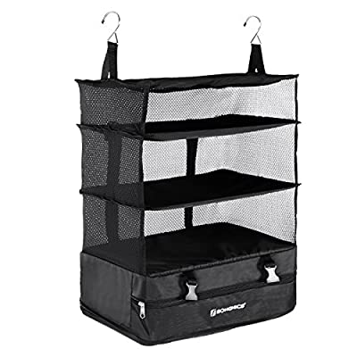 Songmics Foldable 4-Tier Hanging Travel Bag Storage Organizer Packable Closet for Business Travel and Household Use with Shelvesvaligie,Nero - low-cost UK light store.