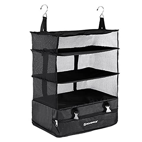 Songmics Foldable 4-Tier Hanging Shelves Wardrobe Organiser Packable Closet for Business Travel and Household Use with Shelves 17.7'' x 11.8'' x 25.2''