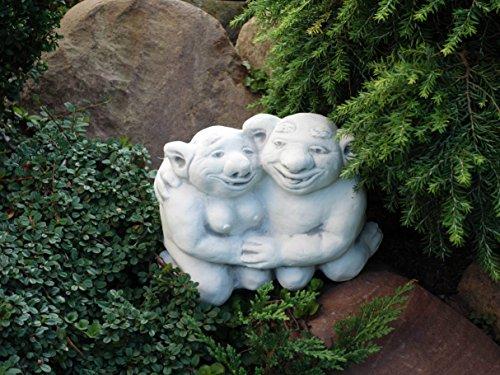 Lustiger Troll Opa und Oma aus Steinguss, frostfest