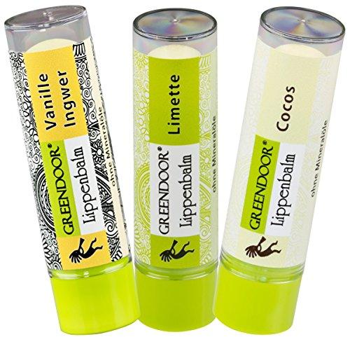 TIC: Vanille Ingwer, Limette, Cocos - 3 exotisch verführerische pflegende natürliche Greendoor Lippenbalsam Lippen-Pflegestifte zum Sparpreis, Naturkosmetik - natural feeling ()