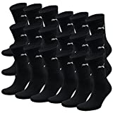 PUMA Unisexe Crew Chaussettes Chaussettes De Sport AVEC SEMELLE BOUCLETTE 18 Lot - Mixte, - noir, coton, 39-42