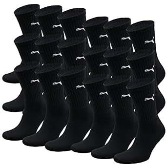 Puma PUMA Unisex Crew Socks Socken Sportsocken MIT FROTTEESOHLE 18er Pack (Black, 35-38) Sportsocken
