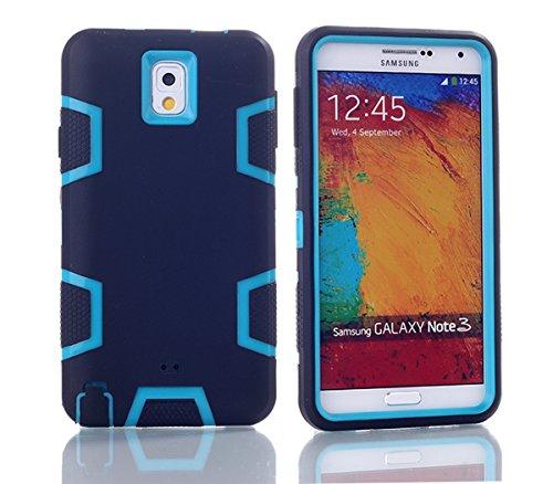 Samsung Galaxy Note 3 N9000 Hülle, Forhouse Ultra Slim [TPU + PC][Dual Layer][Roboter-Muster] Schutzhülle [Anti-Rutsch-] Shock-Absorption-Abdeckung für Samsung Galaxy Note 3 N9000 (Schwarz + Blau) (Galaxy Note 3 Fall Roboter)
