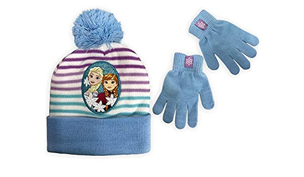Disney Girls Frozen Wintar Hat and Matching Glove Set Anna and Elsa Character 4015