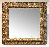 Specchio quadrato con cornice il legno sagomata intagliata,oro effetto anticato,cm65,5x65,5
