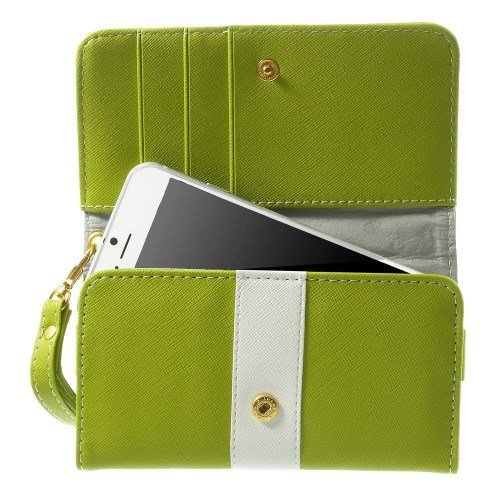 """DFV mobile - Cover Premium with Color Line Design with Card Case for =>      APPLE IPHONE 6 [4,7""""] > Red Pistachio"""