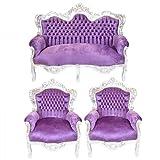 Casa Padrino Barock Wohnzimmer Set King Lila / Silber - 2er Sofa + 2 Sessel