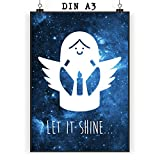 Mr. & Mrs. Panda Poster DIN A3 Engel mit Kerze - 100% handmade in Norddeutschland - Wanddeko, Papier, Bild, Kerze, Christkind, Wandposter, Engel, Geschenk, Engelchen, Weihnachtskerze, Weihnachtsengel, Poster