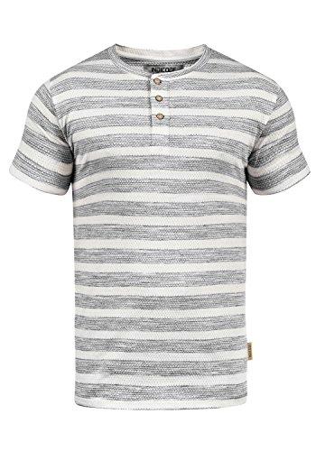Indicode Albemarle Herren T-Shirt Kurzarm Shirt Waffelstruktur-Shirt Mit Grandad-Ausschnitt, Größe:L, Farbe:Black (999) -