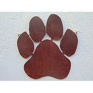 Edelrost Hänger Hundepfote groß Gartendeko Spruchtafel