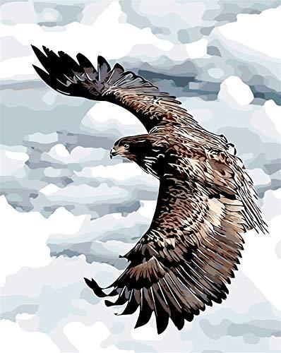 wanghan Malen nach Zahlen Aufsteigender Adler Im Himmel DIY Malen Nach Zahlen Natürliche Vögel Zeichnung Malen Nach Zahlen Ohne Rahmen Home Wand Dekor Kunstwerk - Adler-raum-dekor