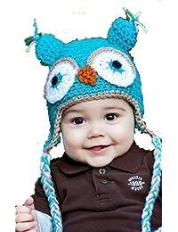 """LadyMYP©Handgemachte Strickmütze, Babymütze, Kindermütze, Hüte, 100% Wolle, Mütze """"Uhu"""" - Hellblau"""
