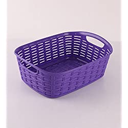 1 Piece HOMIES (REGISTERED BRAND) Premium Quality plastic Rectangular Tapered hollow basket Storage box / organizer / Bin without LID/Cover for Office Documents, Kitchen, Utility, Living room, kids room, Bedroom or Bathroom MULTI COLOR, SIZE H 14 CM x L 40 CM x B 27 CM. No cover/Lid, only basket.