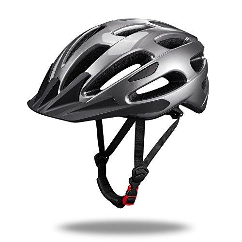 SKL Casco de Ciclismo Deportivo Ligero Casco de Bicicleta de montaña para Hombre y Mujer con Visera Desmontable y Forro tamaño L (53-61 cm), Color Gris