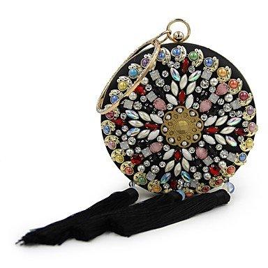 pwne L. In West Frauen'S Mode Handgefertigte Perlen Set Schnecke Abendessen Runde Quaste Handgepäck. Black