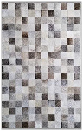 Teppich aus Kuhfell Patchwork, Farbe: Grau, Premium - Qualität von Pieles del Sol aus Spanien (180 x 240 cm)