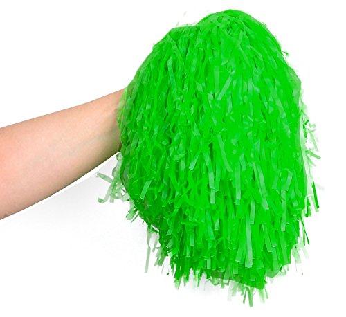 2 stk Pompons Tanzwedel Cheerleader Pom Pom Viele Farben Party #402, Farbe:GRÜN (Cheerleader-grün)