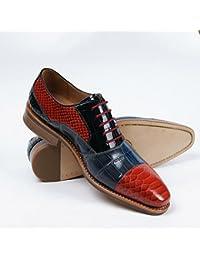 LHLWDGG.K Chaussures Habillées Pour Hommes À La Main, Chaussures De Soirée, Rouge, 46