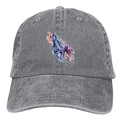 Presock Colorful Horse Denim Hat Adjustable Womens Curved Baseball Hats -