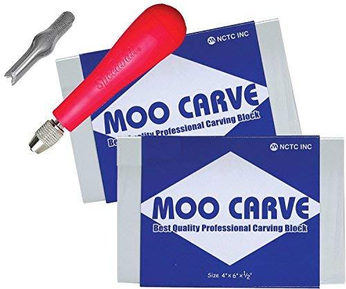Moo Carving Druck Studio Stück leicht zu schneiden Weiche Blöcke mit Speedball Linoleum Werkzeug & Blade Artist Druckgrafik Art und Werkzeug Set 2Pack 4''x 6'' x 1/2
