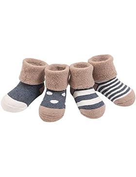 Ueither Säugling Baby Kleinkind 4 Sorten Kuschelige und Niedliche Socken für Mädchen und Jungen (4 Paar)