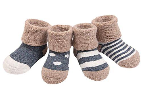 Ueither Säugling Baby Kleinkind Warm Dick 4 Sorten Kuschelige und Niedliche Socken für Mädchen und Jungen (4 Paar) (Blau (für den Winter), S (6-12 Monate))