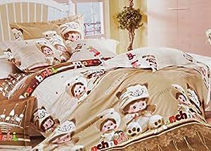 155x200 cappucino schoko creme mehrfarbig Bettwäsche Bettbezüge Bettwäschegarnituren 100% Baumwollsatin ein schönes Muster D12