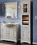 Badmöbel ROMANTIK 85 mit Waschbecken MASSIVHOLZ WEISS verschiedene Kombinationen (Waschtisch Spiegel Hochschrank)