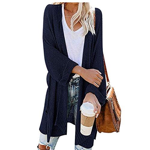 VECDY Damen Winterjacke Mode Jacken Frauen Mantel Lose Feste Offene Lange Hülse Lässig gestrickte Oberbekleidung Cardigan Sweater Coat