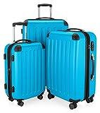 Hauptstadtkoffer - Spree - Set di 3 Valigie Trolley rigido TSA 4 ruote ABS, (S, M, L)  Ciano