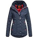 BOL Damen Winterjacke Parka Winter Jacke DOublezipper warm 15693 S-XXL 3Farben, Größe:XL / 42;Farbe:Navy