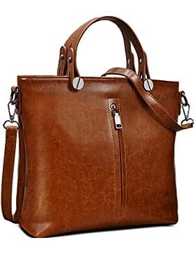 Ausverkauf-Yaluxe Damen Fashion echtes Leder Top Handle Handtasche Schultertasche Size Selection