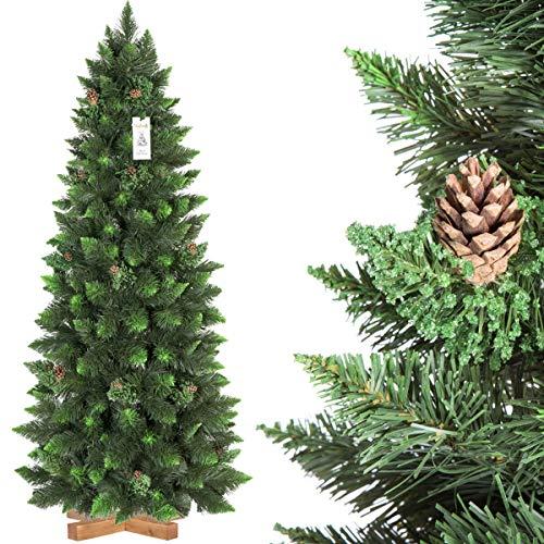 FairyTrees Árbol de Navidad Artificial Slim, Pino Natural Verde, Material PVC, Las...