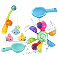 NASHRIO Baby Bath Toys 7pcs Fun Bath Time Play Water Toy Set Bath Fishing Game Floating Bath Toy for Bathtub Swimming Pool for Toddlers Boys and Girls (Colorful)
