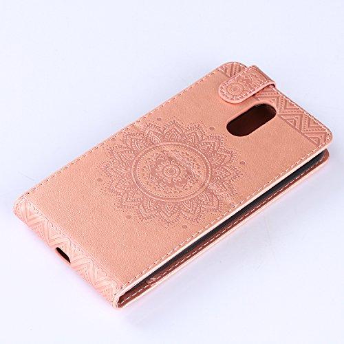 Motorola MOTO G4 Hülle Leder Tasche Flip Cover Moto G4 / Moto G4 Plus Wallet Case Alfort Stilvoll Handycover Grau Mandala Blumen Muster PU Ledercase Brieftasche Handyhülle für Motorola Moto G4 / G4 Pl Rose Gold