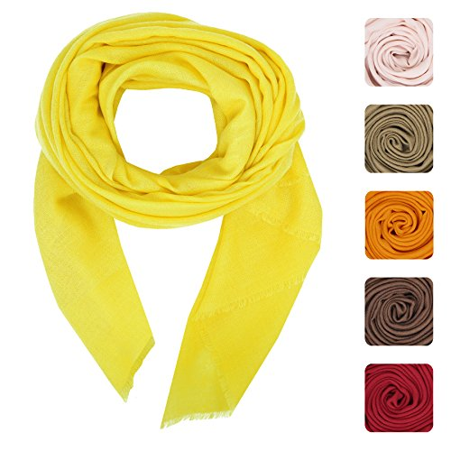 Echarpe en cachemire Feel Wool Silk Femmes Hommes Unisexe Hiver Pashmina écharpe chaude par KASHFAB (Kashmir) Jaune 1