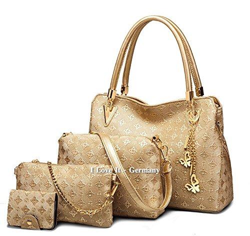 -4-teiliges-Handtaschen-Damen-Set--NEU--Shopper-Umhngetasche-Clutch-Geldbrse-