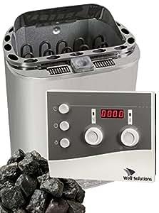 Well Solutions® Bio Kombi Sauna Dampfofen 8KW Scandia Klima Steuerung K3