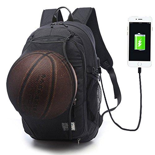 MOYUN 2 in 1 Laptop Rucksack 17 Zoll mit USB Ladeanschluss und versteckte Mesh Tasche Multifunktioneller Rucksack, Basketball Rucksack-Black