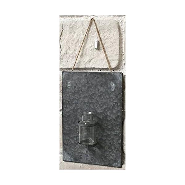 chemin de campagne plaque en zinc avec soliflore vase murale inspid co. Black Bedroom Furniture Sets. Home Design Ideas