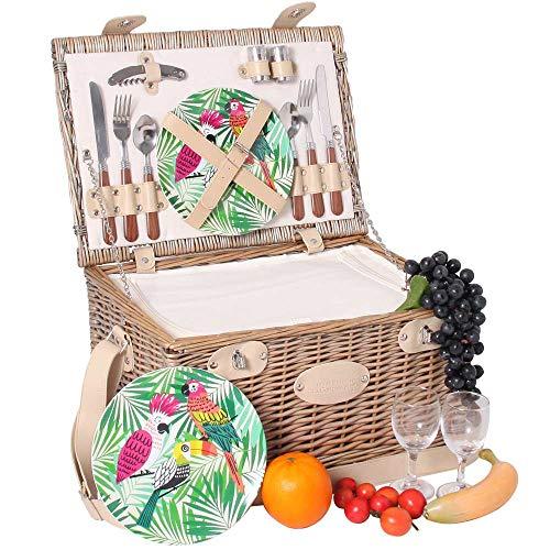 Les Jardins de la Comtesse - Picknickkorb Bel Air - komplett aus Weide - für 2 Personen - Mit Kühlfach, Tellern aus Melamin und Weingläsern - cremefarbener Stoff - 43 x 30 x 23 cm