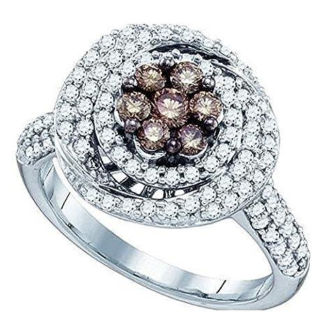 Bague Femme Diamants 0.99 ct 10 ct 471/1000 Or Blanc Rond Blanc & Cognac Diamants 1 ct
