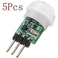 Ils - 5 x Mini IR Infrarrojos piroeléctrico PIR Módulo de detecció del Sensor de Movimiento