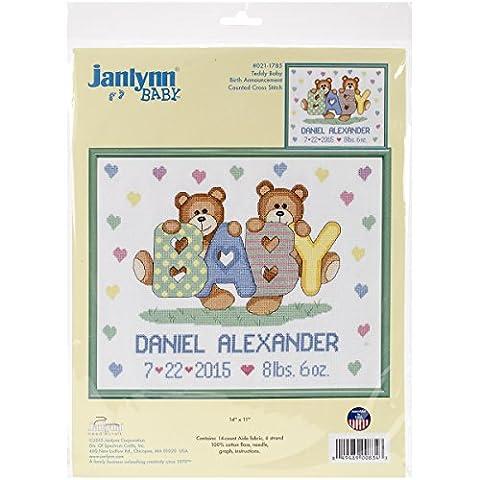 Janlynn Teddy Bear Birth Announcement Cross Stitch
