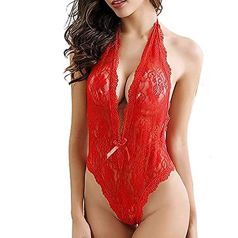 Vovotrade Sexy Frauen plus Größen-Spitze Babydoll -Unterwäsche-Wäsche-Kleid Nachtwäsche (Size:M, Rot)
