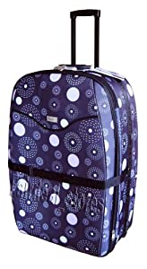 """31"""" (110 Litres) Wheeled Trolley Suitcase Strong Luggage Expandable Brownish Black Printed Amazing Offer"""
