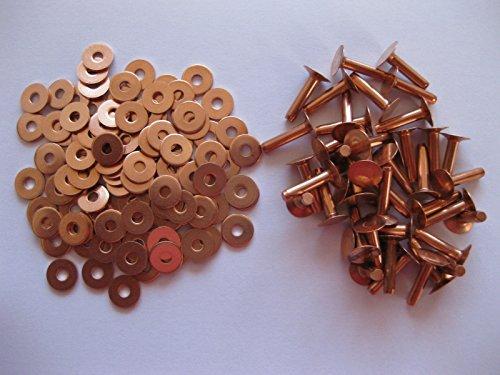 Saddlers de cobre remaches y arandelas 8Gauge 4.1mm x 19MM3/4bolsa de cinturón de piel Manualidades