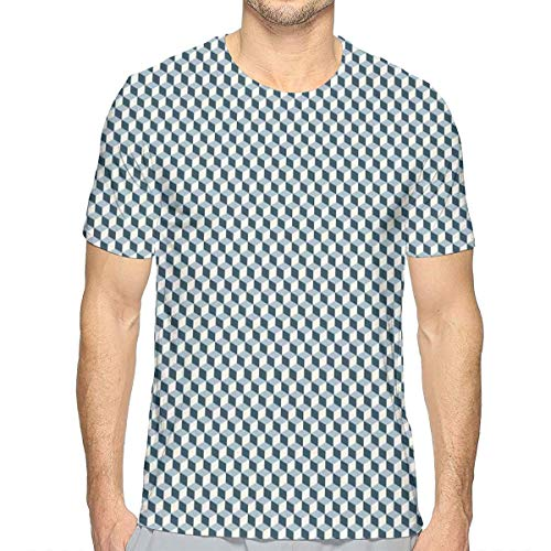3D Printed T Shirts,3D Effect with Stacked Cubes Pattern Grid Style Squares Arrangement M -