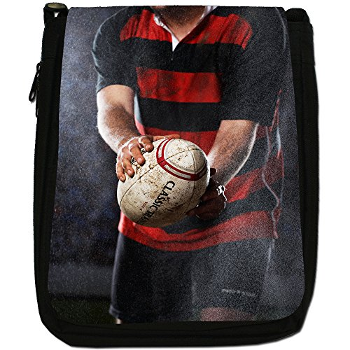 Kit di palla da rugby Coppa del Mondo di squadra Medium Nero Borsa In Tela, taglia M Rain Wind Or Shine Play Rugby